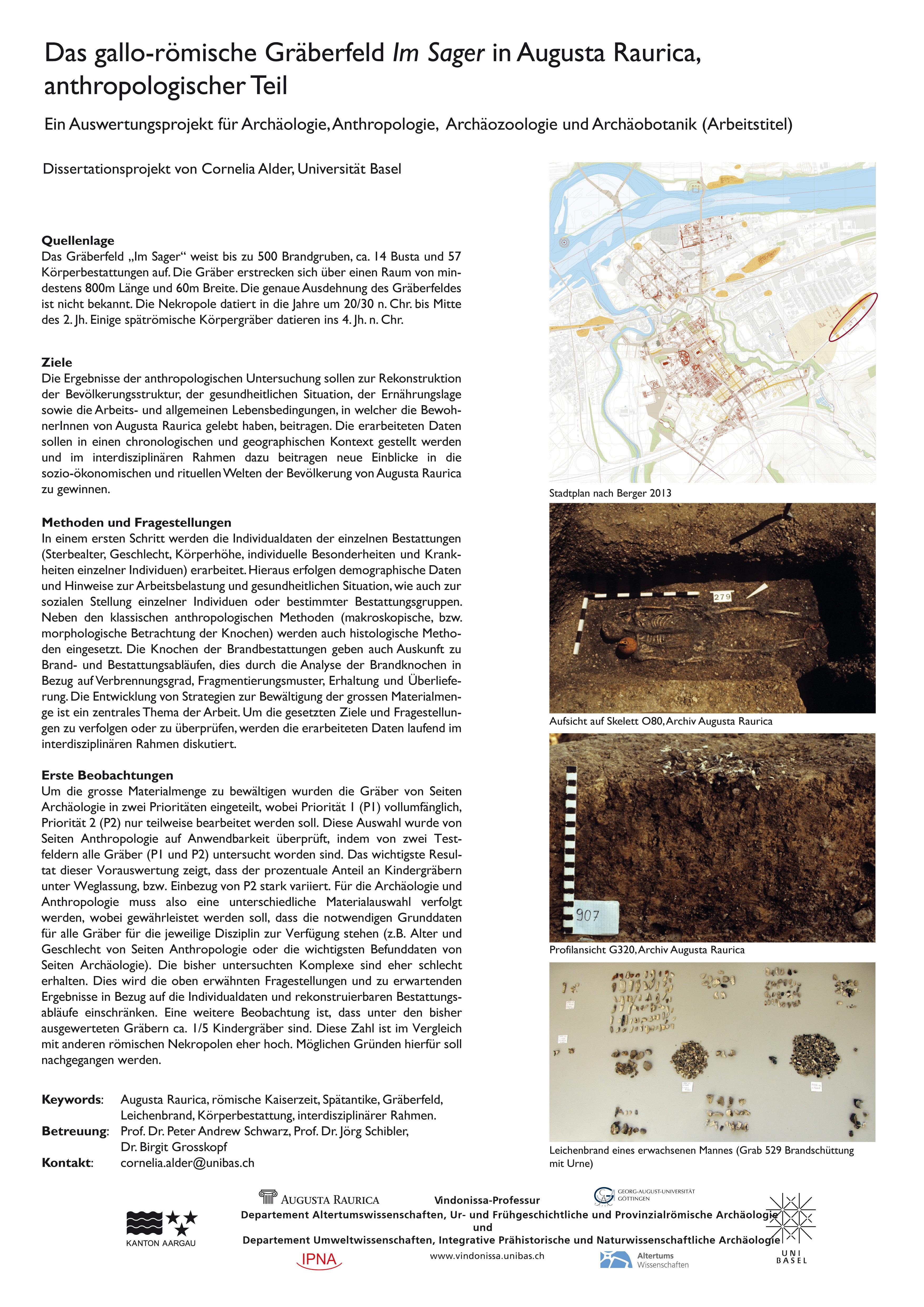Cornelia ALDER: Das gallo-römische Gräberfeld Im Sager in Augusta Raurica, anthropologischer Teil. Ein Auswertungsprojekt für Archäologie, Anthropologie, Archäozoologie und Archäobotanik.