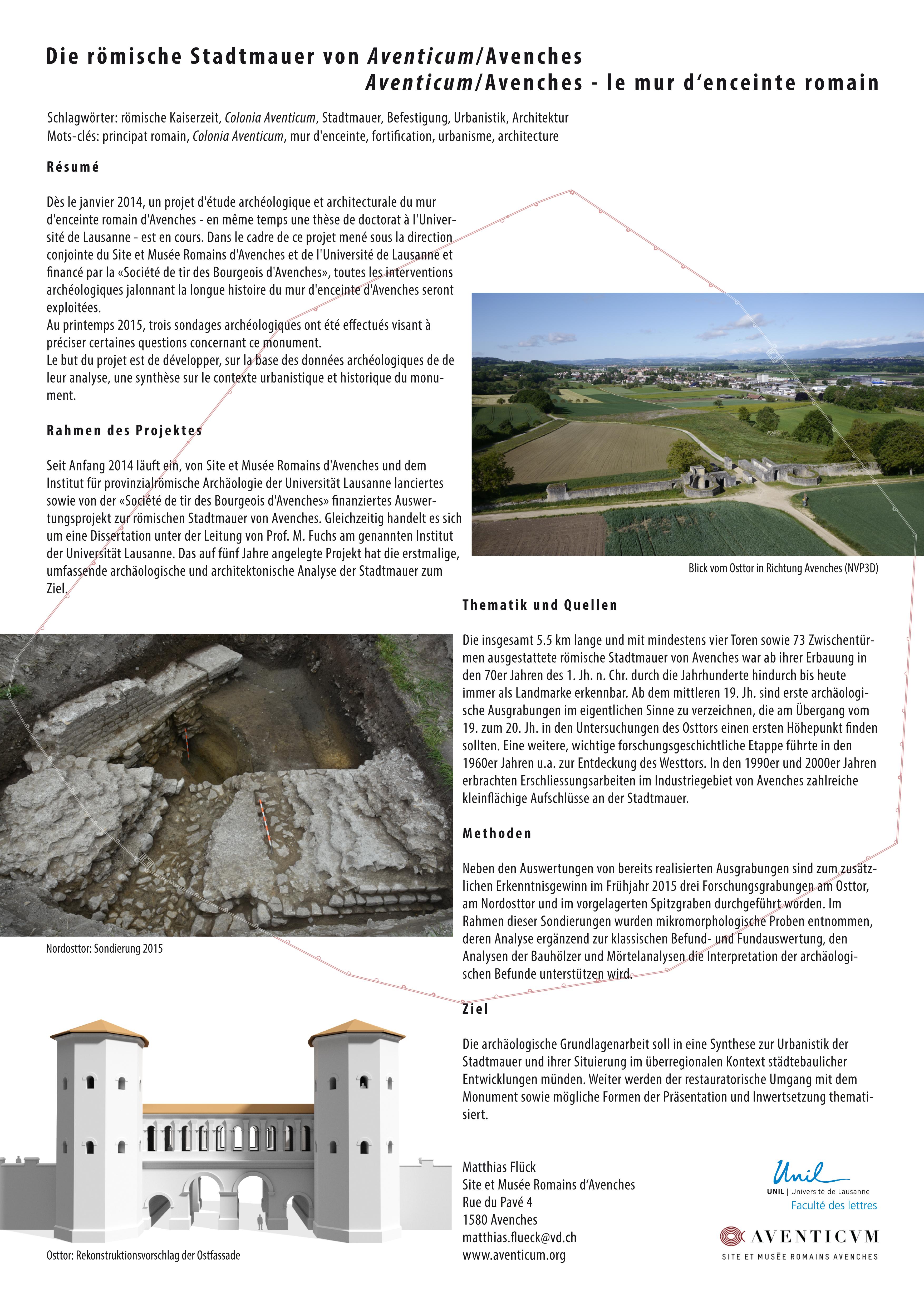 Matthias FLÜCK: Die römische Stadtmauer von Aventicum/Avenches. Aventicum/Avenches – le mur d'enceinte romain.