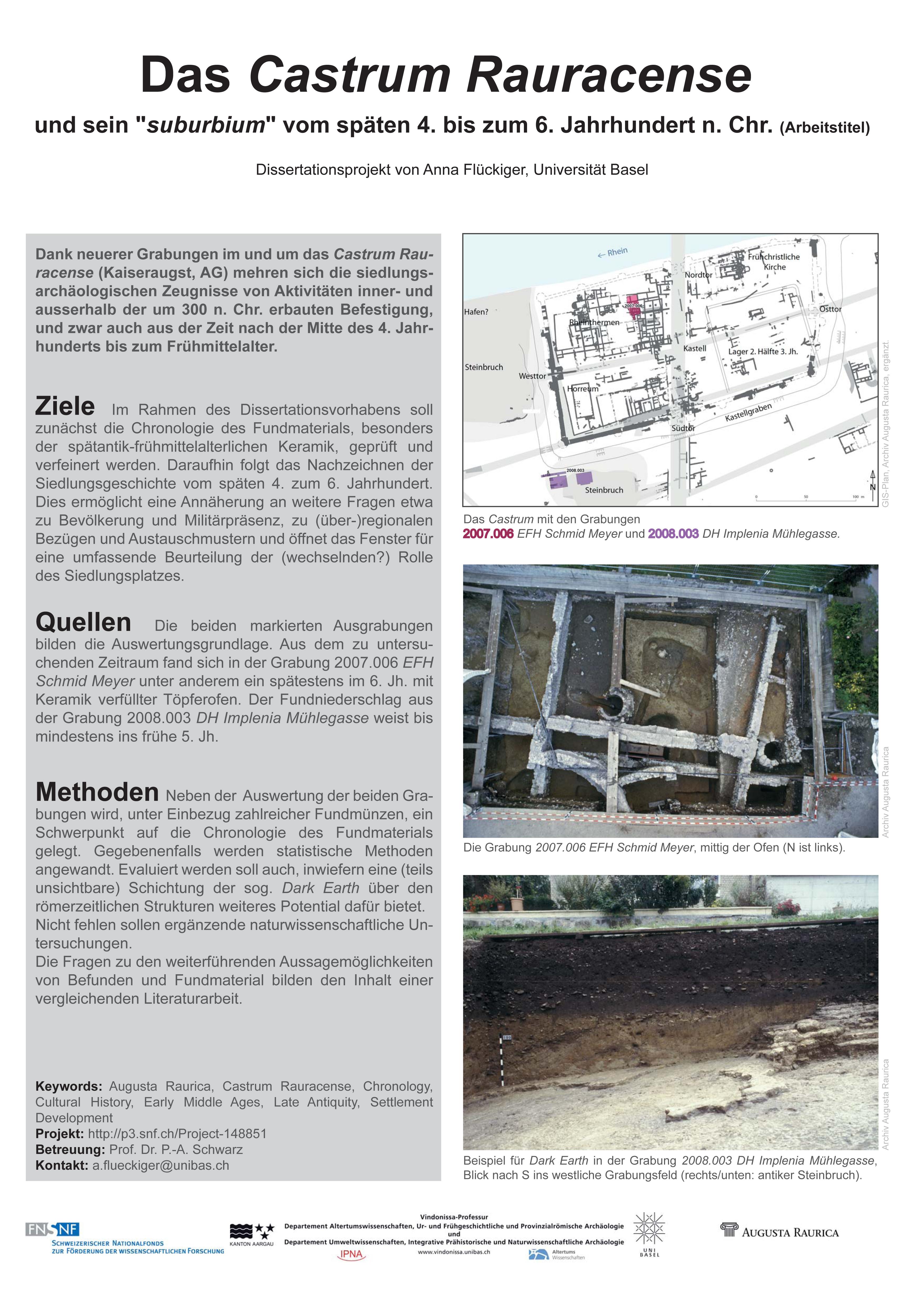 """Anna FLÜCKIGER: Das Castrum Rauracense und sein """"suburbium"""" vom späten 4. bis zum 6. Jahrhundert n. Chr."""