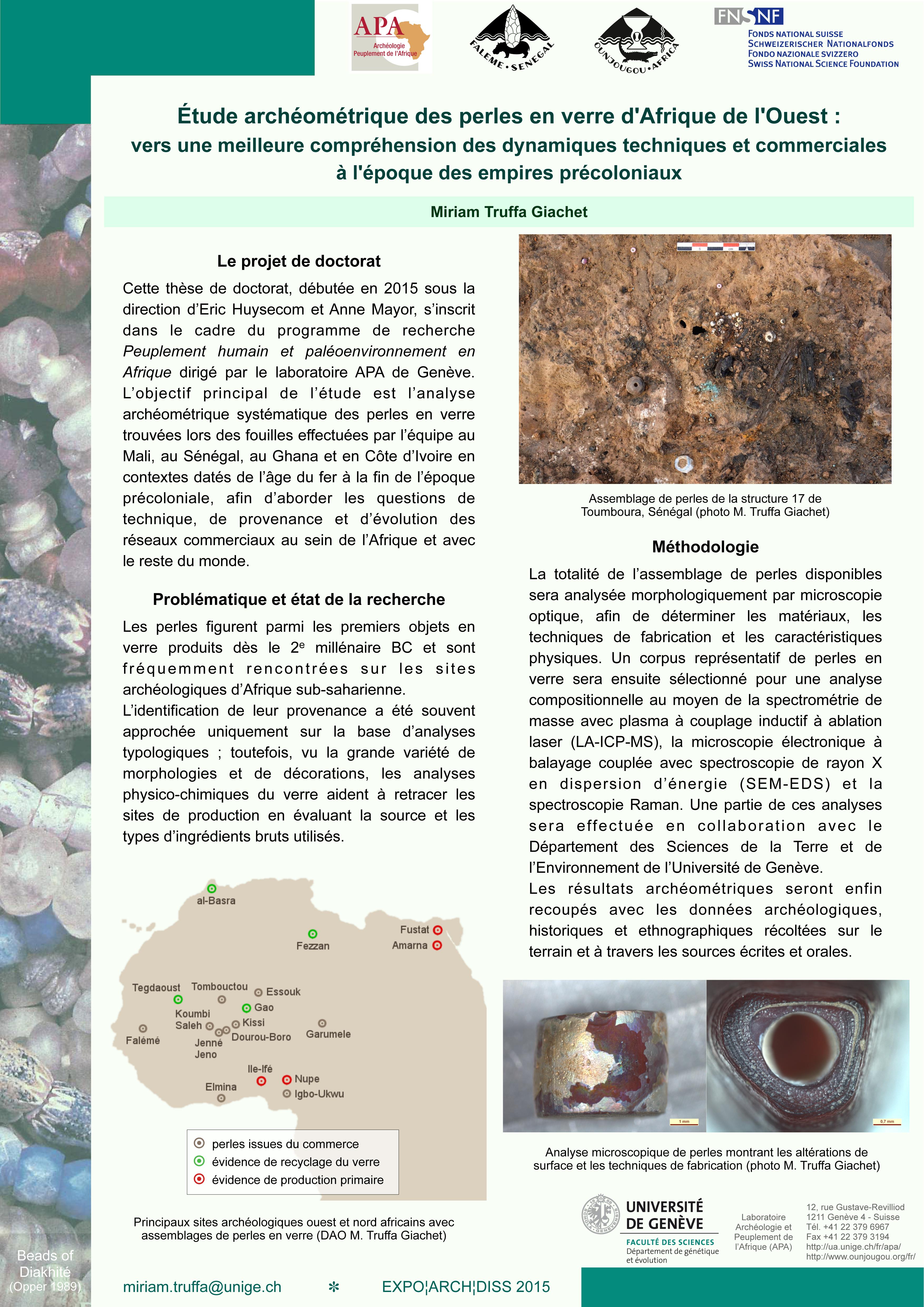 Miriam TRUFFA GIACHET: Étude archéométrique des perles en verre d'Afrique de l'Ouest : vers une meilleure compréhension des dynamiques techniques et commerciales à l'époque des empires précoloniaux.